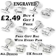 Silver Engraved Wedding Oval Personalised Cufflinks Mens Cuff Links Dad Groom