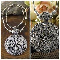 Retro Women Tibetan Silver Flower Round Shield Pendant Choker Collar Necklace