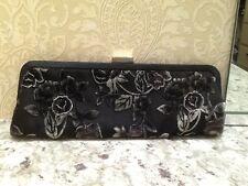 Spiegel Black Floral Motif Frame Clutch Handbag Pre-owned
