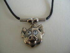 "PIGS HEAD WITH MOVING EYES NECKLACE / PENDANT WITH 16"" BLACK CORD"