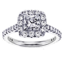 1.45 CT Halo Princess Cut Diamond Engagement Ring in 18k WG NEW