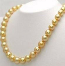 """10mm Golden South Sea Shell Pearl Necklace 36"""" AAA+ R42"""