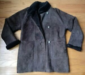 Vintage Blue Duck Sheepskin Shearling Leather Coat Brown Size Small GUC
