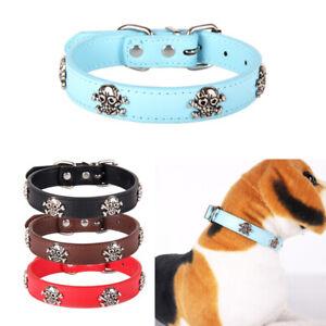 Halloween Skull Punk Pet Dog Collar PU Leather Puppy Cat Necklace Pet Collars