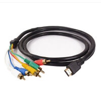 NEW HDMI to 5 RCA Male Audio Video 5FT Cable Cord Adapter for TV HDTV DVD LOT BR