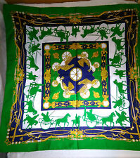 Green Vintage Scarf with Horses & Carriage 65 x 65 cm