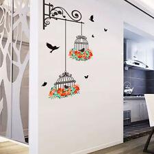 Birdcage Vine Flower Bird Wall Stickers Mural Art Home Decoration Removable