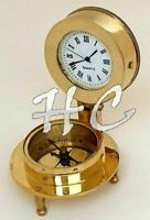 """""""There is no Time Better Than Now""""Brass Compass & Clock Nautical Desk Decor Gift"""
