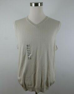 NEW Izod Golf Mens Mercerized Cotton V Neck Abstract Beige Sweater Vest Medium