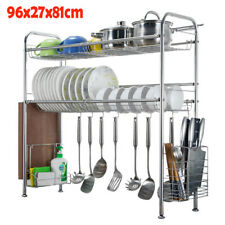 Over The Sink Dish Drying Shelf Stainless Steel Cutlery Holder Drainer Rack New