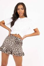 Leopard Print High Waist Frill Hem Shorts (RRP £37.99) Made for Top Shop