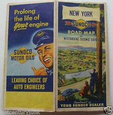 Sunoco  Road Map Of New York & Historical Scenic Guide 1950
