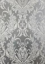 33002 Exclusive Valencia Velvet Flock Black//Silver Damask Wallpaper