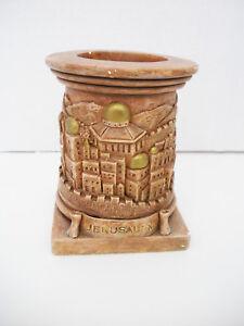 Ceramic Brown JERUSALEM CANDLE STICKS Tealight Holder Jewish Shabbat &Holiday