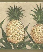 Simply Pineapple on Taupe with Olive Edge Wallpaper Border PC110B