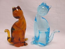 Vintage Blue & Amber Murano Glass Cat Figurines Paperweight