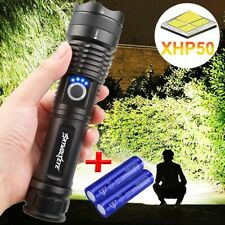 XHP P50 MOST POWERFUL LED FLASHLIGHT USB Zoomable TORCH Camping LAMP 26650 Set