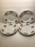 4 SOUTHINGTON BAUM FINE CHINA ''ROSE GARDEN'' SOUP BOWLS POLAND VINTAGE 8 1/4''