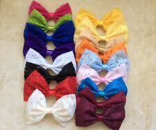 34 HANDMADE FABRIC LACE HAIR BOWS LOT MIX COLORS WOMEN, GIRL 3X4 ALLIGATOR CLIP