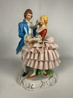 "BRINN'S PGH Porcelain Vintage Victorian Dancing Couple 9.25"" (chips) Taiwan"