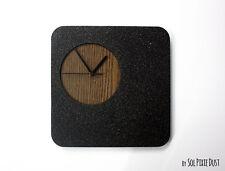Black Granite Concrete and Wood Wall Clock / Modern Square Wall Clock