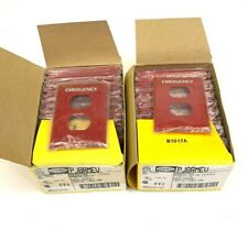 """Lot of 44 HUBBELL PJ8RMEV WALL PLATE RED 3 1/8"""" X 4 7/8"""" MARKED EMERGENCY"""