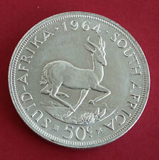 SOUTH AFRICA 1964 SPRINGBOK PROOFLIKE SILVER 50 CENT CROWN