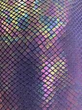 Purple Venom Snake Skin Stretch Velvet Iridescent Spandex Fabric - BTY - 58""