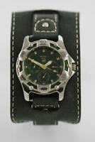 Relic Mens Green Stainless Silver Gray Wide Leather Date 50m Day Date 24hr Watch