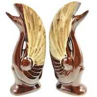 "Art Deco Swans Ceramic 8.5"" Vintage Pair of Brown Drip Glazed Pottery Swans"
