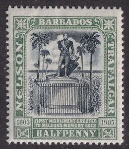 Barbados #103 mint ½d Nelson 1906 wmk 1 cv $12