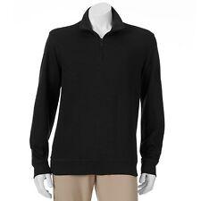 NWT Van Heusen Pullover Shirt XL Black Spectator 1/4 Zip Collar LS