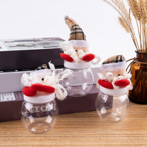 Santa Claus Candy Jar Empty Candy Box Storage Bottle New Year Christmas Gift~