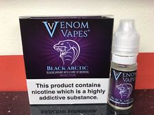 VENOM VAPES #12 BLACK ARCTIC BLACKCURRANT HINT MENTHOL 3mg Nic, 3 x 10ml Bottle
