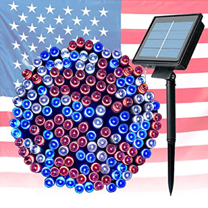 4th of July Decorations Outdoor Solar String Lights 72FT 200 LED Independence 8