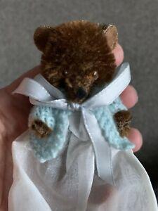 "Antique Mini Jointed Teddy Bear 3"" Tall - Dark Brown Mohair Long Dress & Sweater"