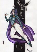 "DC RAVEN ORIGINAL ARTWORK BY LIVIA B.R. 7.5x11.5"""