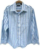 Men's Attention Blue Striped Long Sleeve Casual Button Down Shirt Size XL