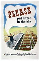 """Original Vintage British Work Ethic """"Please Put Litter In the Bin"""" 1940's"""
