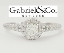 Gabriel & Co 0.66 ct 14K White Gold Round Cut Diamond Halo Engagement Ring