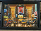 Mid Century Abstract Impressionist Oil on Canvas Framed Painting NY Times Square