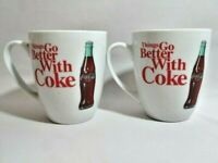 Things Go Better With Coke Coca-Cola Ceramic 14 oz Mugs Retro Cups Set of 2 NEW