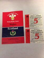 Galles-SCOZIA 20th MARZO 1982 programma Rugby più due biglietti in blocco G