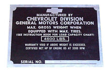 1950 Door Post Plate Chevrolet Chevy Pickup Truck 1/2 ton