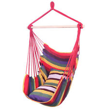 Rainbow Color Distinctive Cotton Canvas Hanging Rope Chair with Pillows