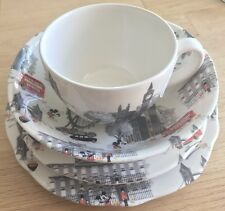 Cath Kidston Mickey in London Royal Stafford 4 Pc Earthenware Set & Flyer RARE
