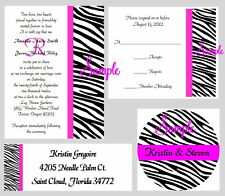 100 Personalized Monogram Zebra Stripes Wedding Invitations Set Any Color Stripe