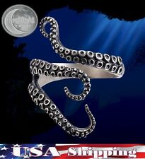 New Octopus Tentacles Kraken Antiqued Silver Steampunk Nautical Adjustable Ring