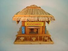 NEW BEACH HANGOUT BIRDHOUSE SQUARE WOOD PALM & LEAVES  FOR HOME AND GARDEN DECOR