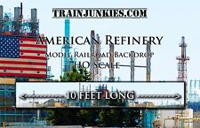 "Train Junkies HO Scale ""American Refinery""  Model Railroad Backdrop 18x120"""